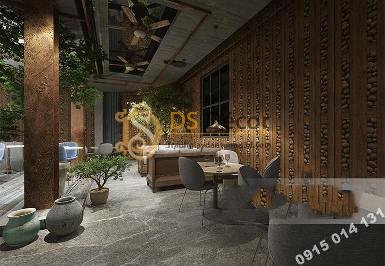 Giấy dán tường gỗ và đá 3D169 trang trí quán cafe