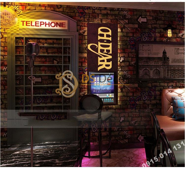 Giấy dán tường kiểu Graffiti hip hop 3d168-501 trang trí phòng trà