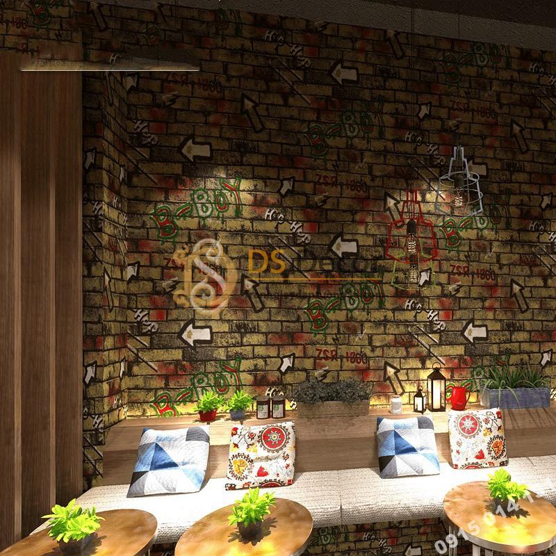 Giấy dán tường kiểu Graffiti hip hop 3d168-501trang trí quán cà phê