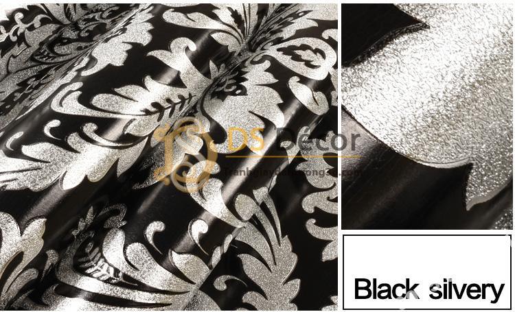 Giấy dán tường hoa cổ điển 3d186 màu trắng bạc 01