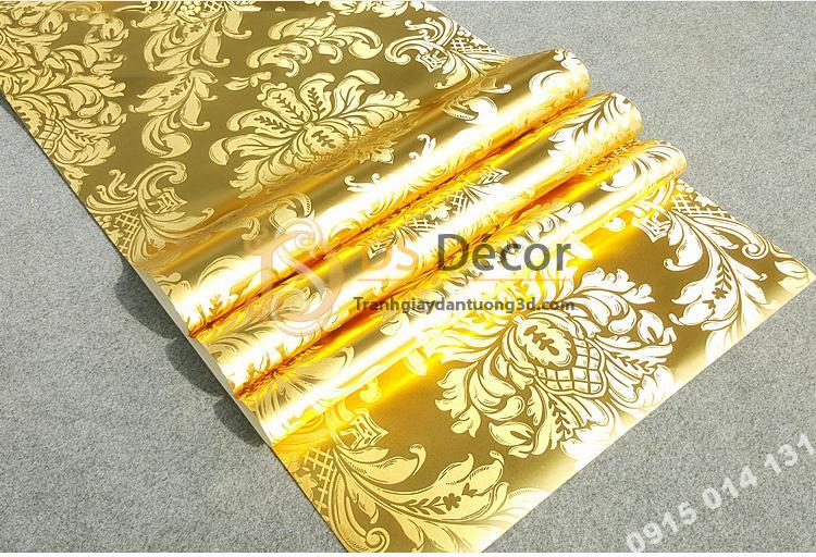 Giấy dán tường hoa cổ điển 3d186 màu vàng 01