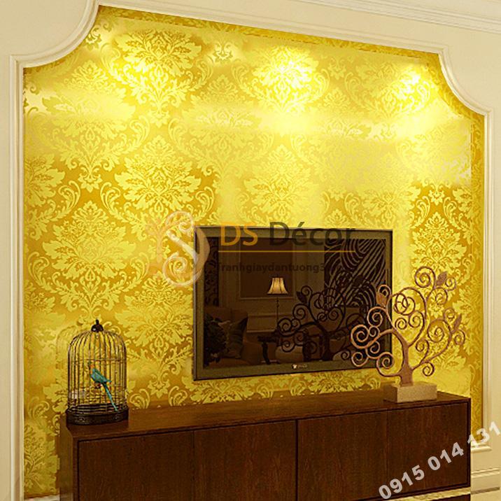 Giấy dán tường hoa cổ điển 3d186 màu vàng
