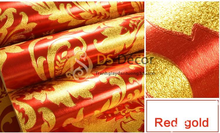 Giấy dán tường hoa cổ điển 3d186 màu vàng đỏ 01