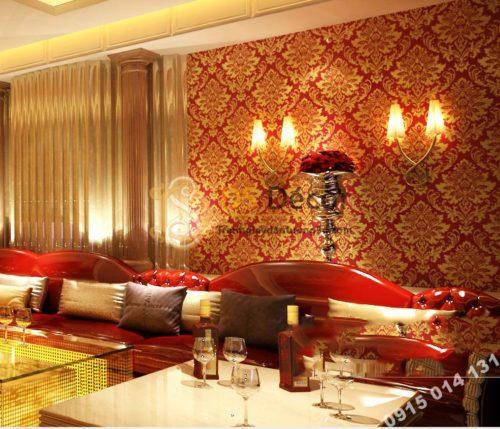 Giấy dán tường hoa cổ điển 3d186 màu vàng đỏ