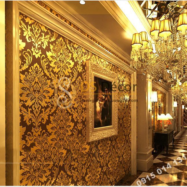 Giấy dán tường hoa cổ điển 3d186 màu vàng nâu