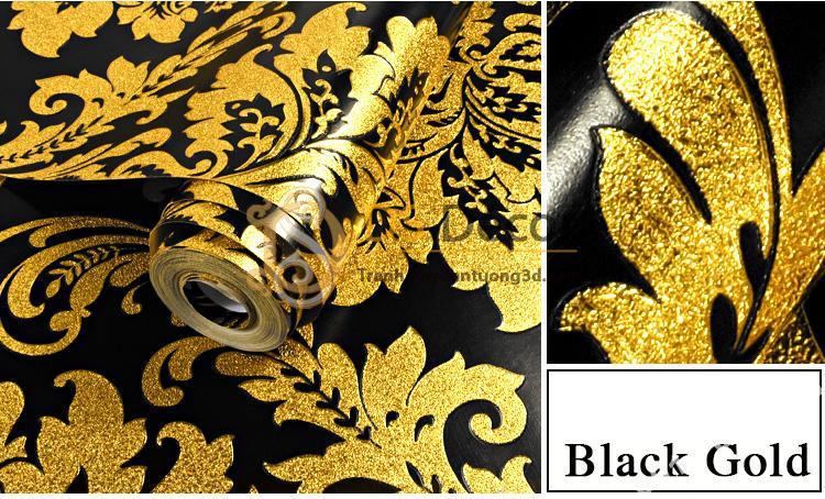 Giấy dán tường hoa cổ điển 3d186 màu vàng đen 01