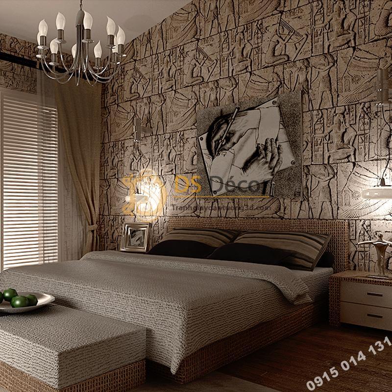 Giấy dán tường họa tiết Pharaoh Ai Cập 3D175 phòng ngủ