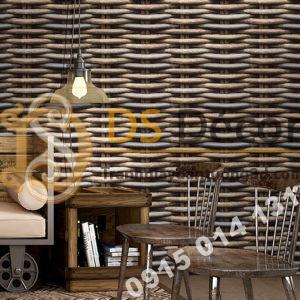 Giấy Dán Tường Họa Tiết Tre Đan Lát 3D163 trang trí quán cà phê