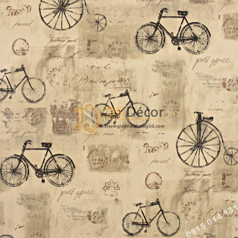 Giấy dán tường họa tiết xe đạp 3D172