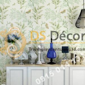 Giấy dán tường hoa nhỏ và bướm 3d173 trang trí phòng khách