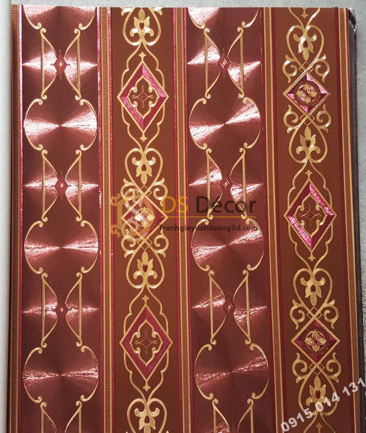 Bề mặt Giấy dán tường kẻ sọc kiểu hoàng gia màu đỏ mận 3D184
