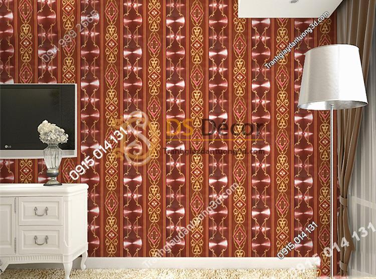 Giấy dán tường kẻ sọc kiểu hoàng gia màu đỏ mận 3D184