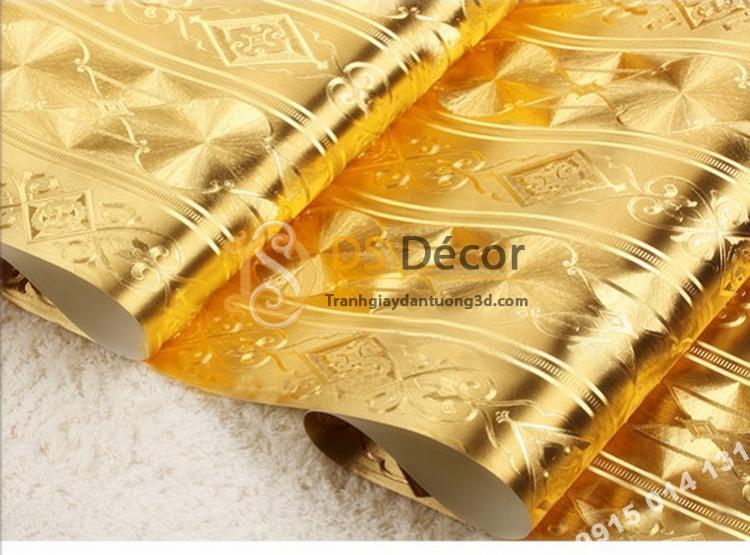 Bề mặt Giấy dán tường kẻ sọc kiểu hoàng gia màu vàng 3D184