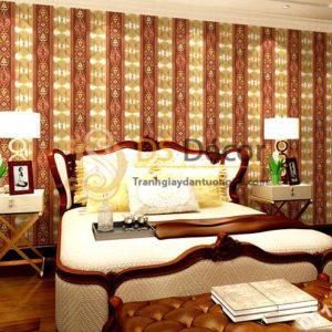 Giấy dán tường kẻ sọc kiểu hoàng gia màu vàng nâu 3D184
