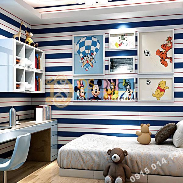 Giấy dán tường kẻ sọc trắng tím than 3D171 trang trí phòng bé