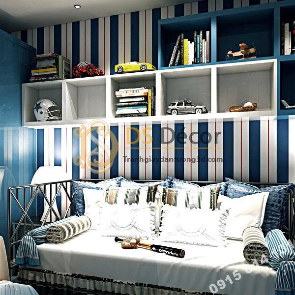 Giấy dán tường kẻ sọc trắng tím than 3D171 trang trí phòng khách