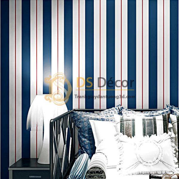 Giấy dán tường kẻ sọc trắng tím than 3D171 trang trí phòng ngủ