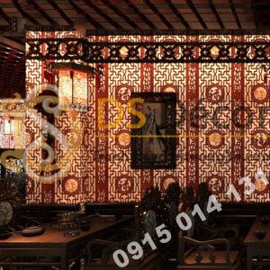 Giấy dán tường khắc gỗ kiểu hoàng cung 3D167 màu đỏ