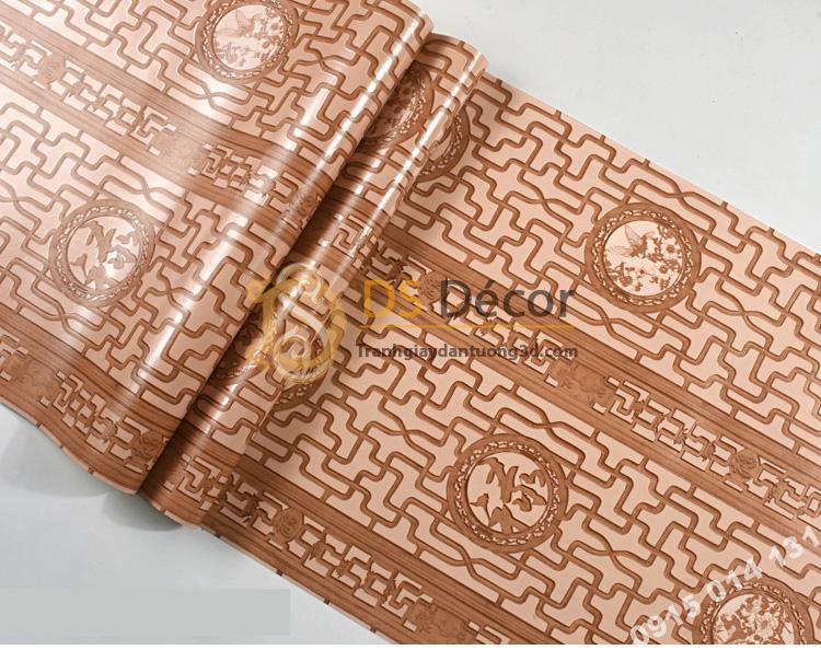 Bề mặt Giấy dán tường khắc gỗ kiểu hoàng cung 3D167 màu nâu