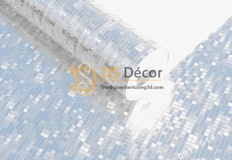 Giấy dán tường khảm vàng bạc màu trắng óng ánh 3D182