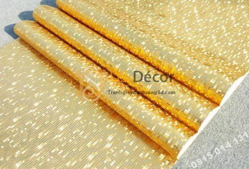 Giấy dán tường khảm vàng bạc màu vàng óng ánh 3D182