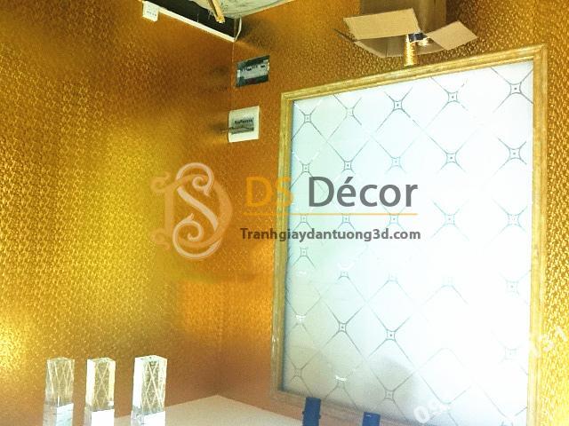 Giấy dán tường khảm vàng bạc màu vàng óng ánh 3D182 trang trí quán bar