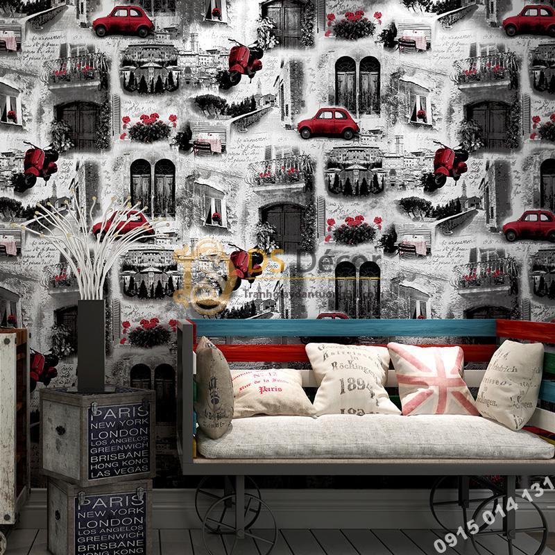 Giấy dán tường ô tô xe máy 3D165 trang trí quán cà phê