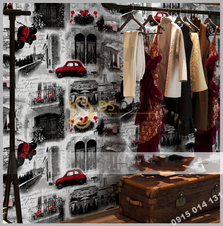 Giấy dán tường ô tô xe máy 3D165 trang trí shop quần áo