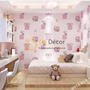 Giay-dan-tuong-phong-tre-em-hoa-tiet-cho-Snoopy-mau-hong-3d132