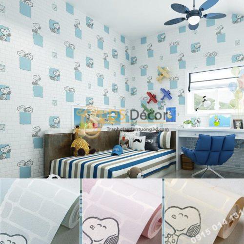 Giay-dan-tuong-phong-tre-em-hoa-tiet-cho-Snoopy-mau-xanh-3d132