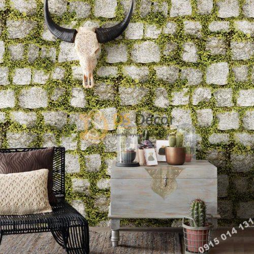 Giấy dán tường giả đá xen rêu xanh 3d179 trang trí quán cà phê