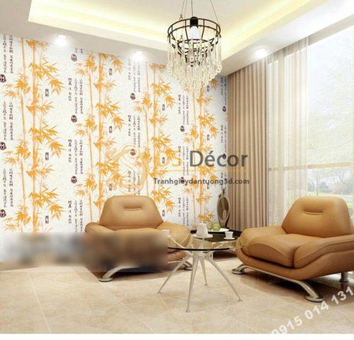 Giấy dán tường tre xanh thư pháp 3D174 màu vàng phòng khách
