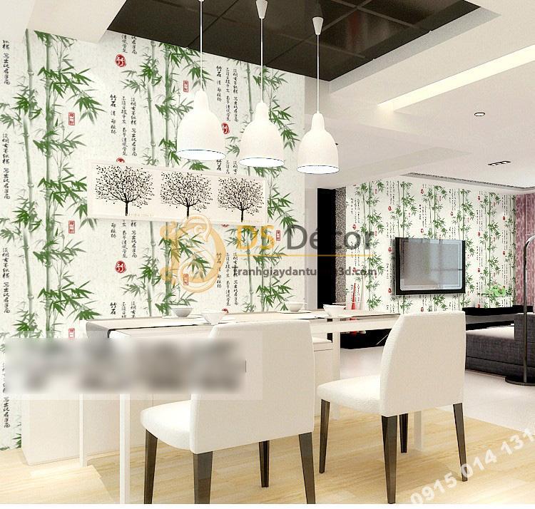 Giấy dán tường tre xanh thư pháp 3D174 phòng ăn