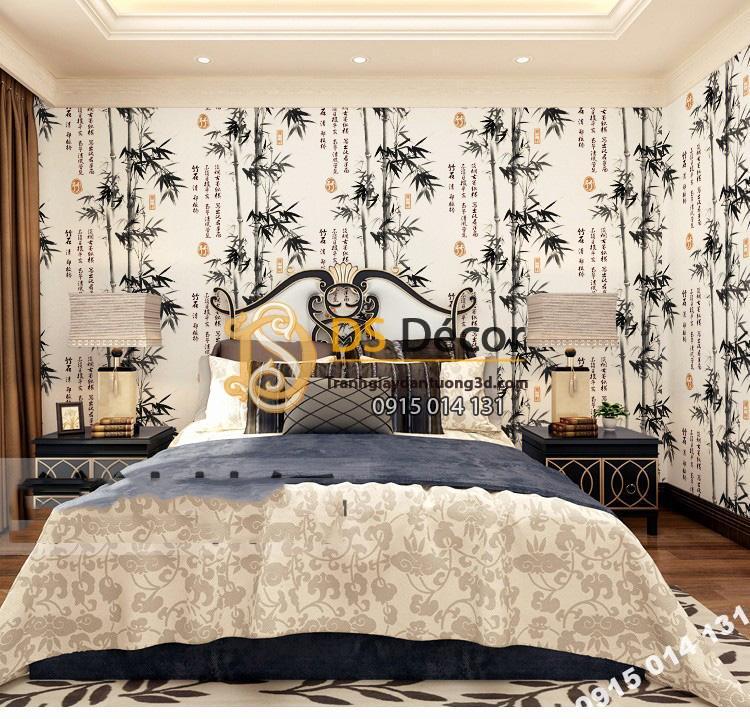 Giấy dán tường tre xanh thư pháp 3D174 màu đen phòng ngủ