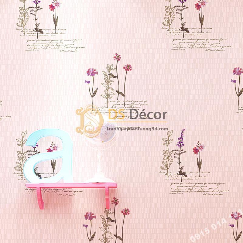 Giấy dán tường vườn hoa màu hồng và chữ 3D155