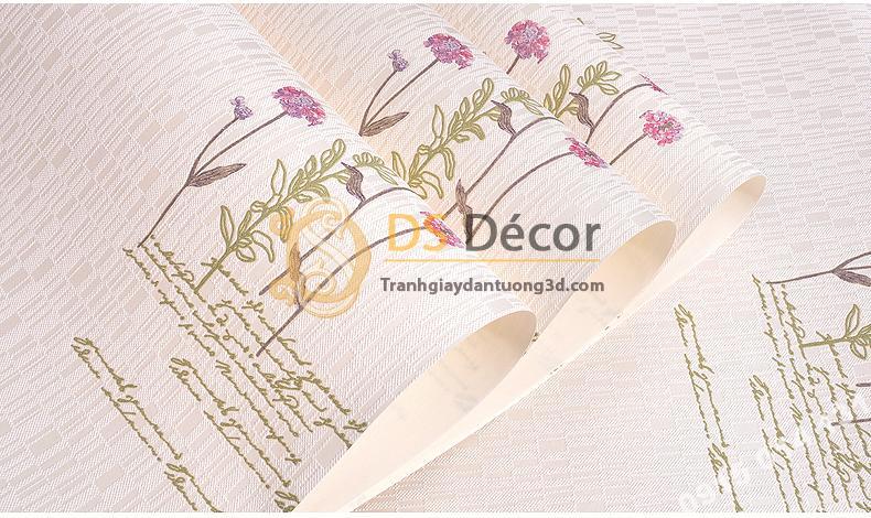 Bề mặt Giấy dán tường vườn hoa màu hồng và chữ 3D155