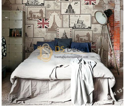 Giấy dán tường họa tiết tem thư 3D157 dán phòng ngủ