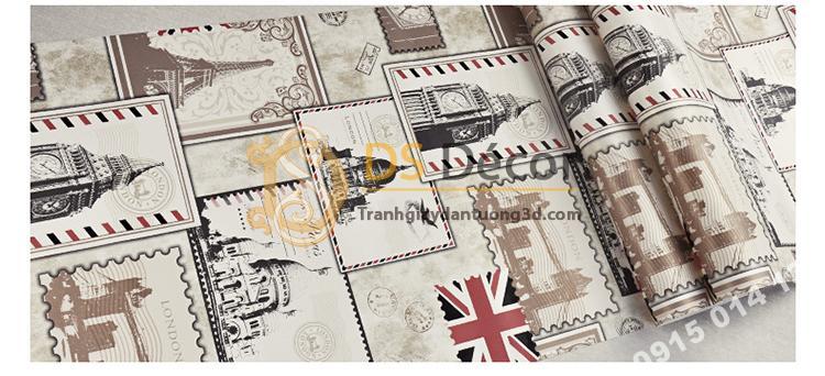 Bề mặt Giấy dán tường họa tiết tem thư 3D157