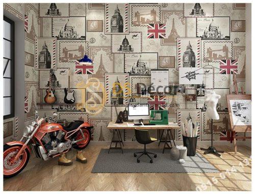 Giấy dán tường họa tiết tem thư 3D157 dán phòng làm việc