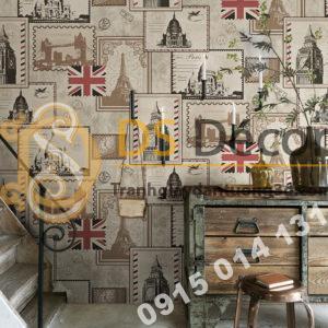 Giấy dán tường họa tiết tem thư 3D157 dán quán cafe