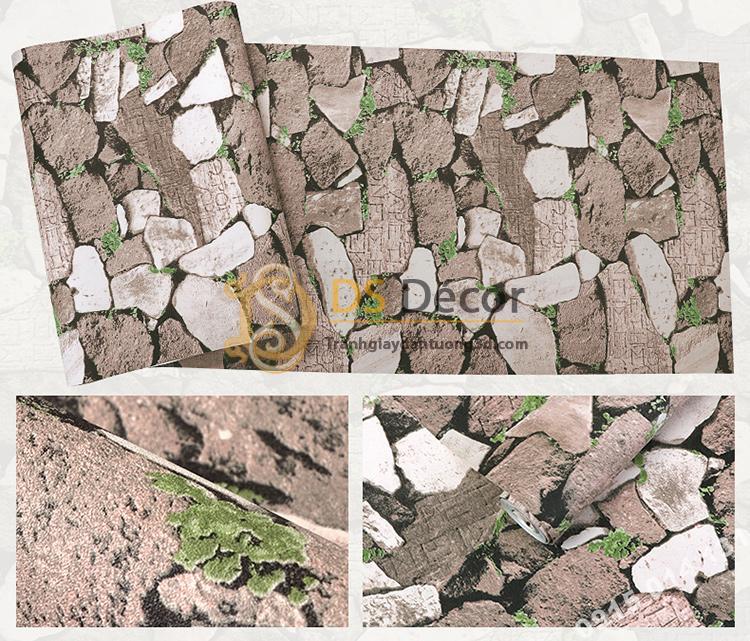 Bề mặt giấy dán tường giả tường đá nâu cổ 3D154