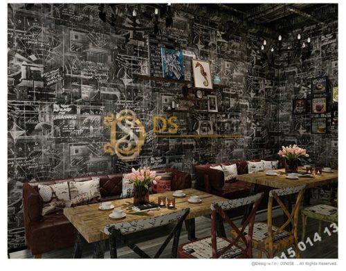 Giấy dán tường họa tiết bảng đen phấn trắng mẫu sáng 3D158 trang trí quán ăn