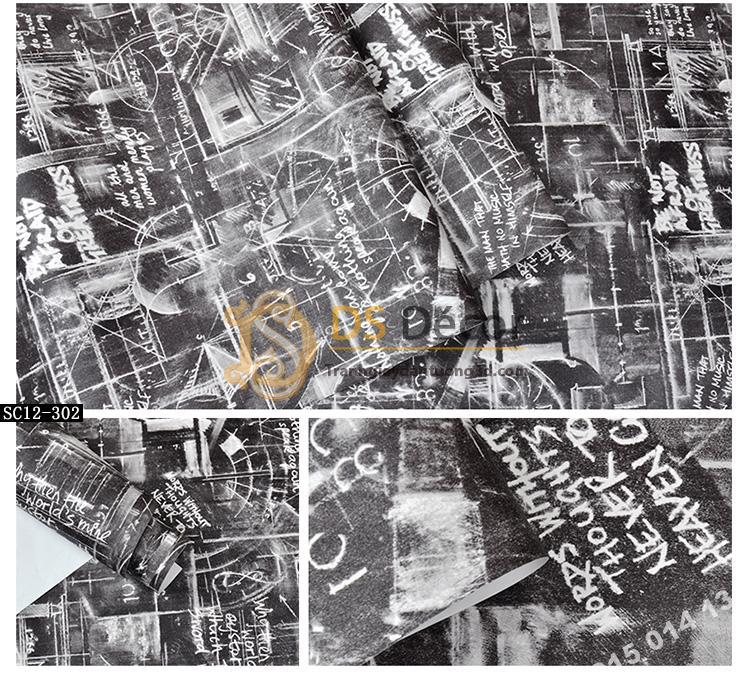 Giấy dán tường họa tiết bảng đen phấn trắng mẫu sáng 3D158