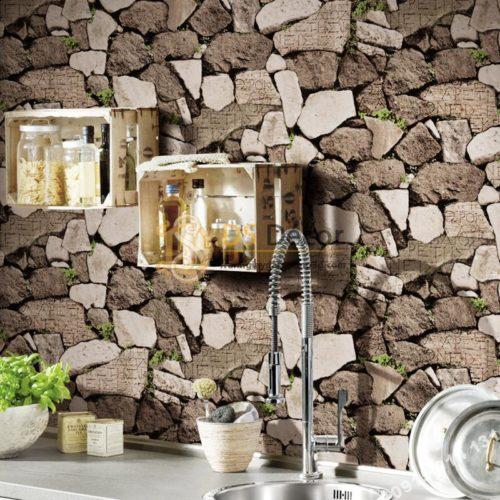 Giấy dán tường giả tường đá nâu cổ 3D154 phòng bếp