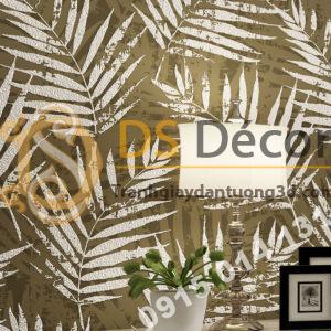 Giấy dán tường lá cọ màu nâu nhạt 3D160