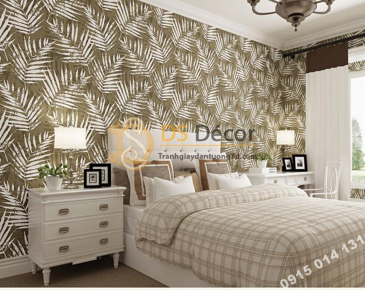 Giấy dán tường lá cọ màu nâu nhạt 3D160 dán phòng ngủ