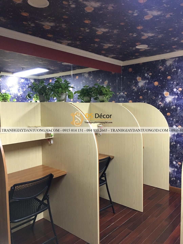 Thi công giấy dán tường ngân hà văn phòng làm việc 3D110