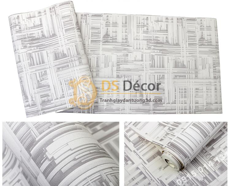 Giấy dán tường thanh sắt đan xen 3D156 màu trắng