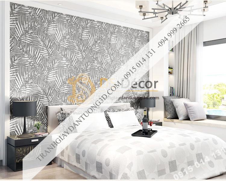 Giấy dán tường lá cọ màu trắng 3D160 phòng ngủ