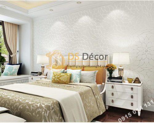 Giấy dán tường hoa cúc 3D161 màu trắng